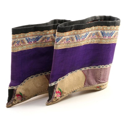 Chinese Butterfly Embroidered Silk Lotus Shoes
