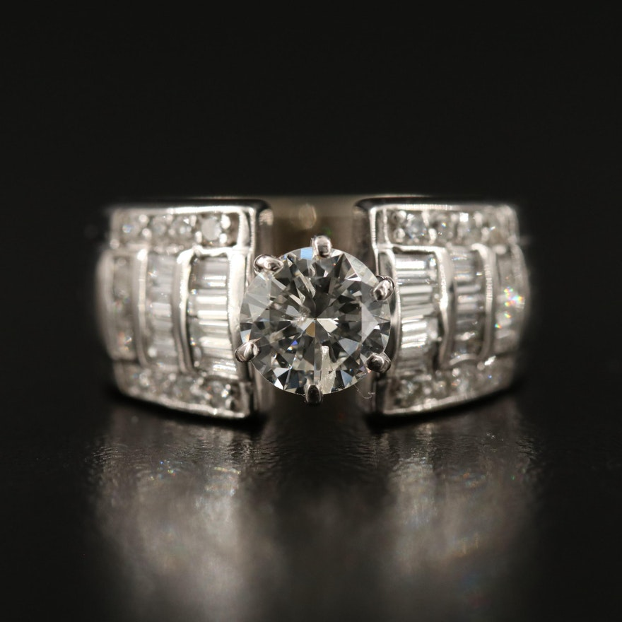 14K 1.86 CTW Diamond Ring with 1.00 CT Center