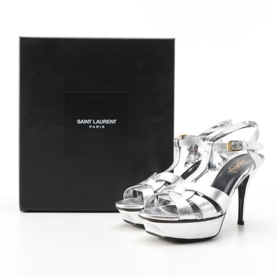 Yves Saint Laurent Tribute 75 Platform Sandals in Silver Metallic Leather