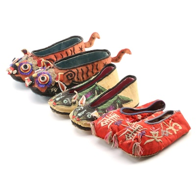 Children's Chinese Longevity and Figural Embroidered Silk Shoes
