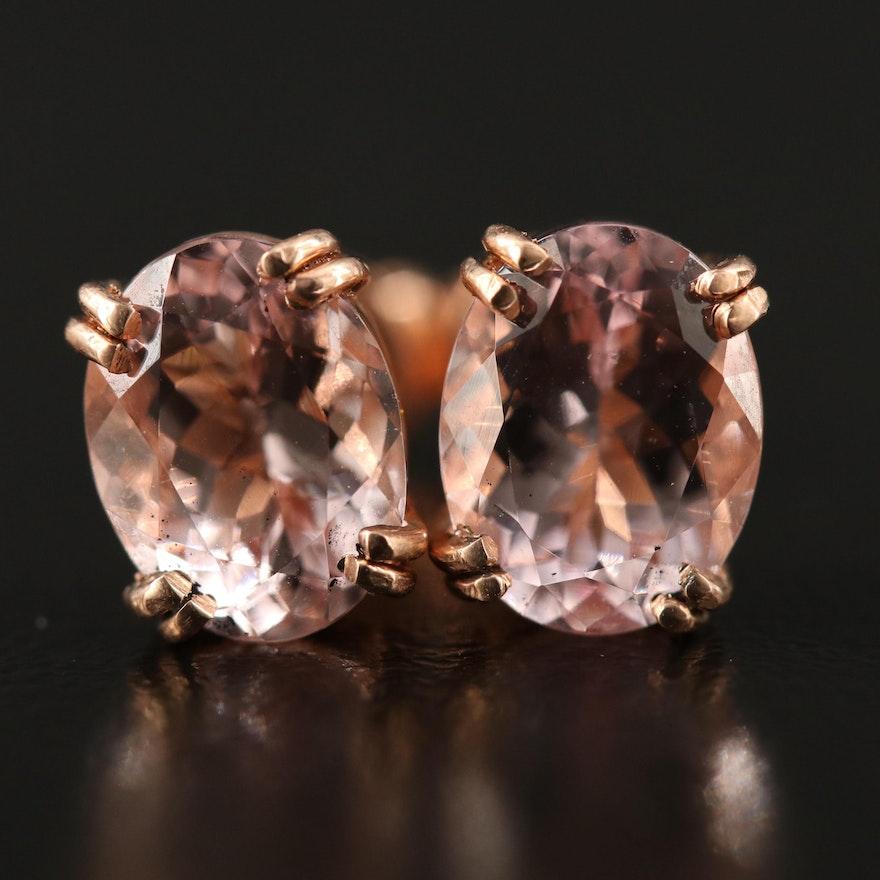 14K Rose Gold Morganite Oval Stud Earrings