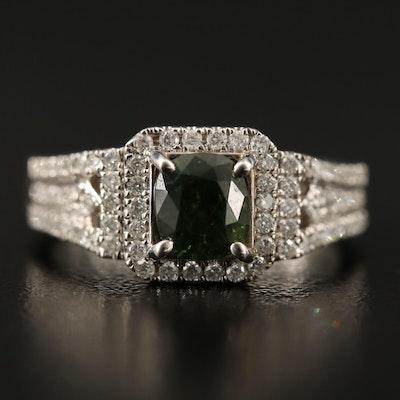14K Split Shank Sapphire and Diamond Ring