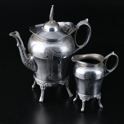 A. Ledig and Son Etched Silver Plate Coffee Pot and Creamer, Late 19th Century