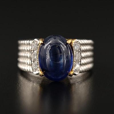 14K Corundum Cabochon and Diamond Ring