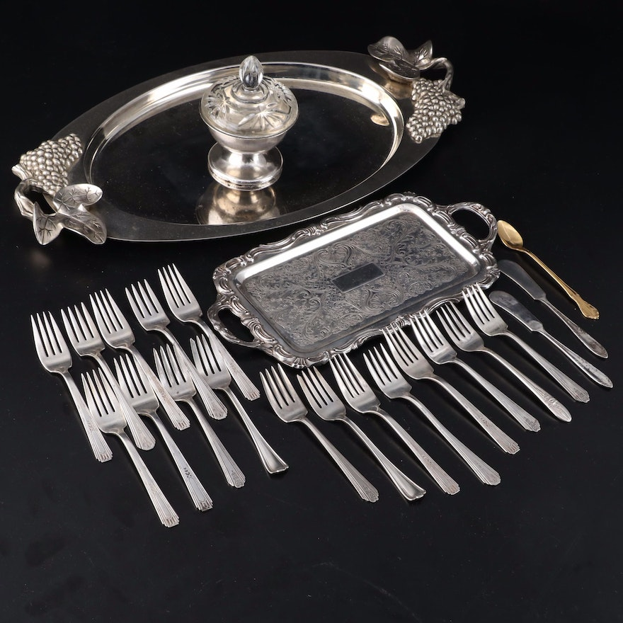"""Godinger """"Grape"""" Serving Tray with Other Silver Plate and Stainless Serveware"""