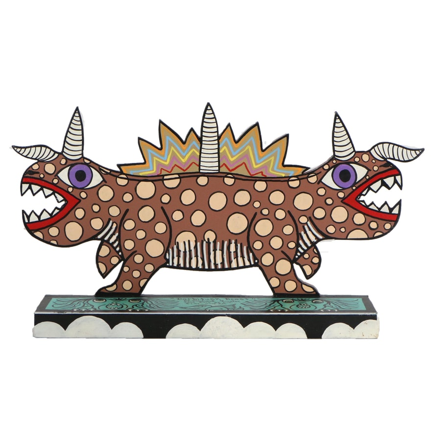 "Michael Finster Folk Art Wooden Sculpture ""Darbitusk Beast"", 1994"