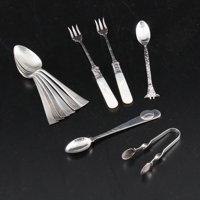 Tiffany & Co. Baby Spoon and Other Sterling Silver and Silver Plate Flatware