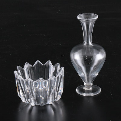 "Baccarat French Crystal Footed Bud Vase and Orrefors ""Fleur"" Crystal Bowl"