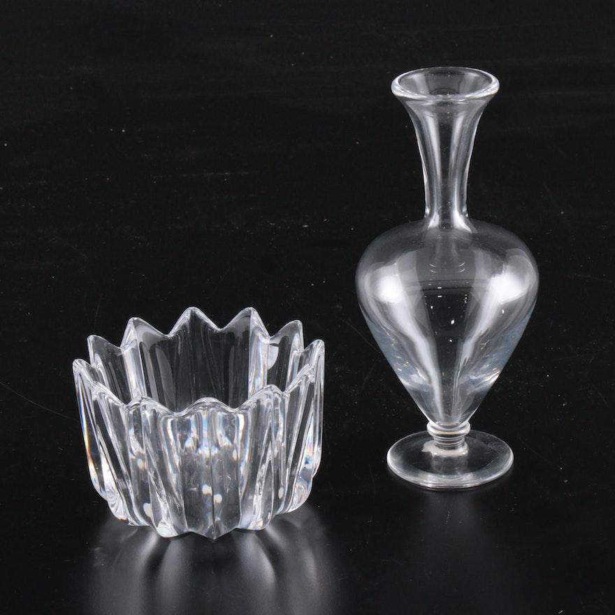 """Baccarat French Crystal Footed Bud Vase and Orrefors """"Fleur"""" Crystal Bowl"""