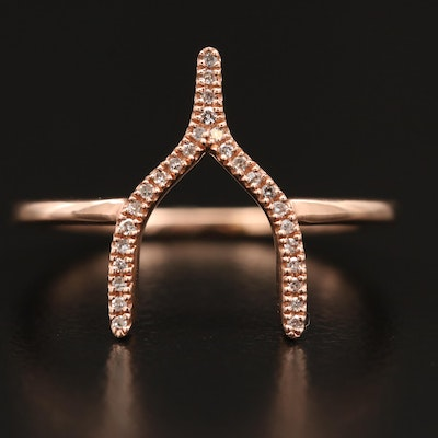 Minimalist 14K Rose Diamond Wishbone Ring