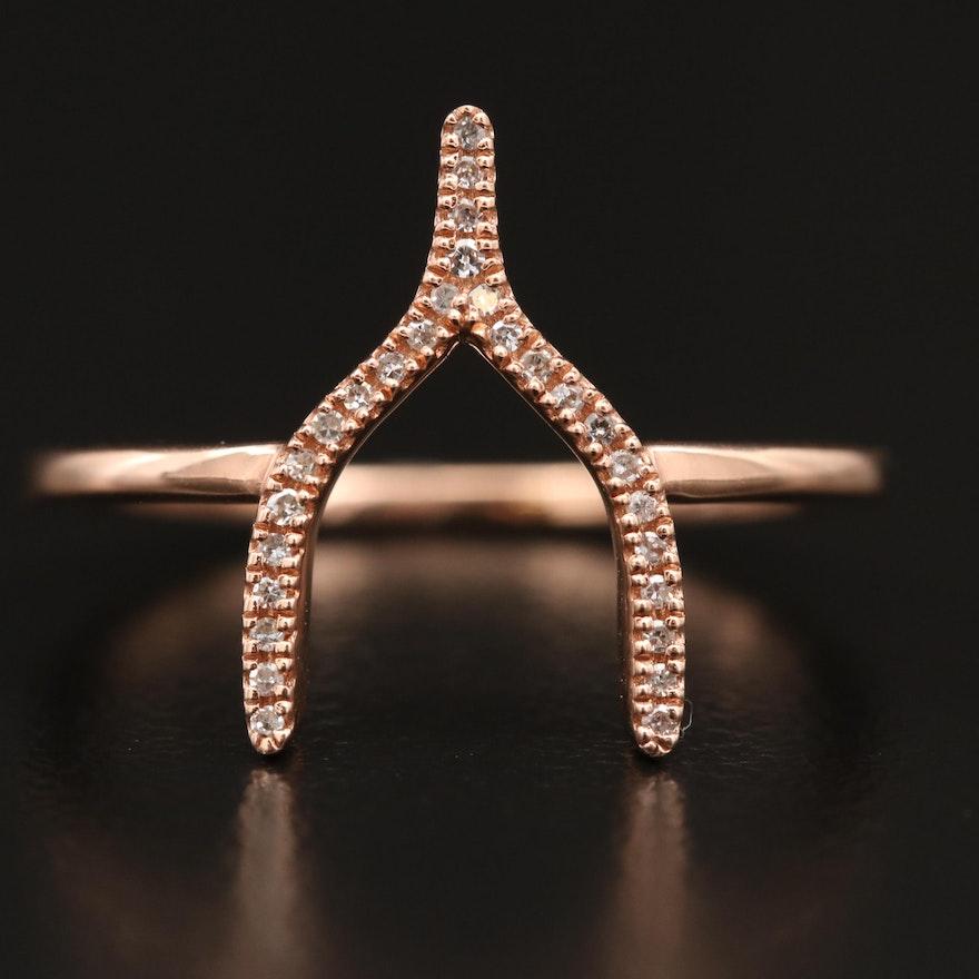 Minimalist 14K Rose Diamond Wishbone Ring