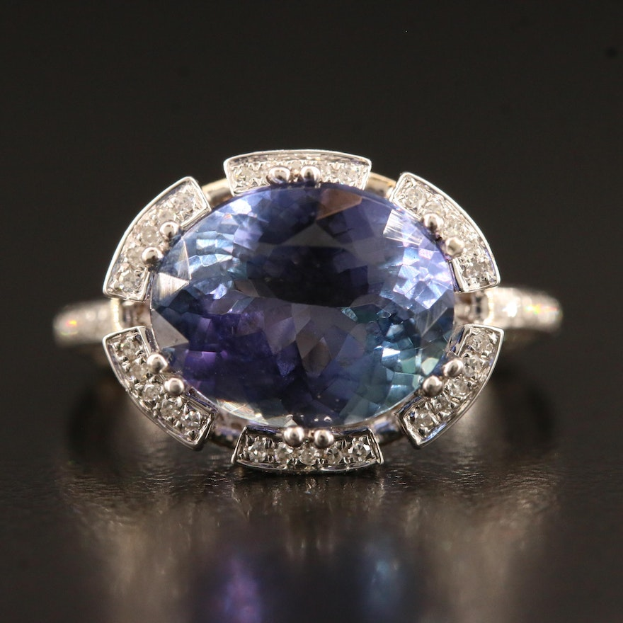 14K 5.35 CT Tanzanite and 1.12 CTW Diamond Ring with GIA Report