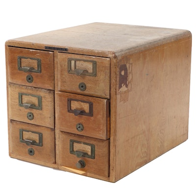 Itōi Co. Ltd. Wood Six-Drawer Wood Table Top Card Catalog File