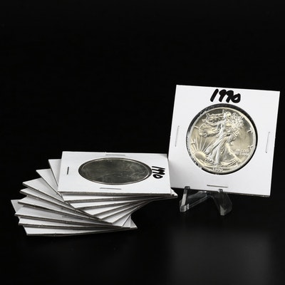Ten 1990 American Silver Eagle Dollar Bullion Coins