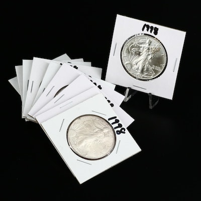 Ten 1998 American Silver Eagle Dollar Bullion Coins