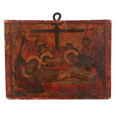 Offset Lithograph After Devotional Painting of Descent from the Cross