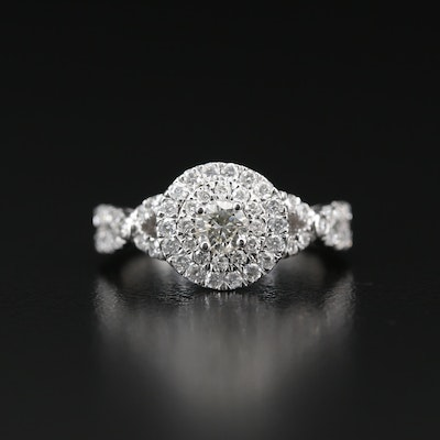 14K 1.05 CTW Diamond Double Halo Ring