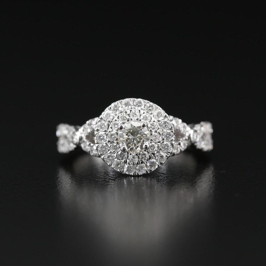 14K 1.05 CTW Diamond Double Halo Ring