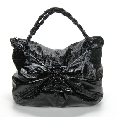 Salvatore Ferragamo Shoulder Bag in Black Crinkled Patent Leather