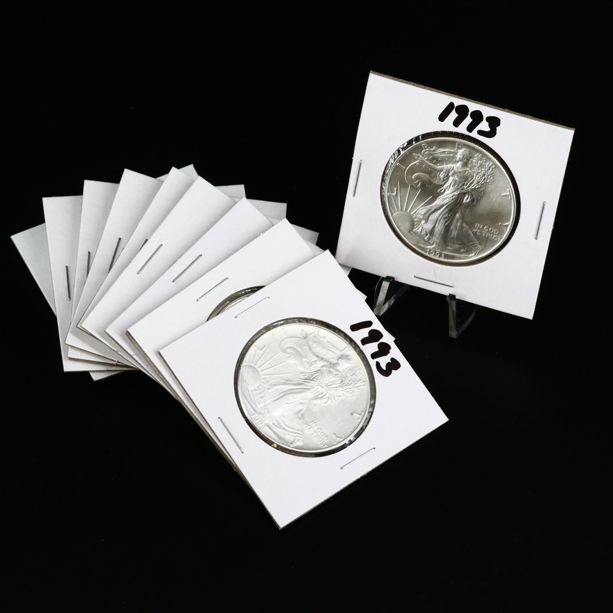 Ten 1993 American Silver Eagle Dollar Bullion Coins