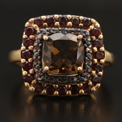 Sterling Silver Smoky Quartz Ring with Diamond and Garnet Halo