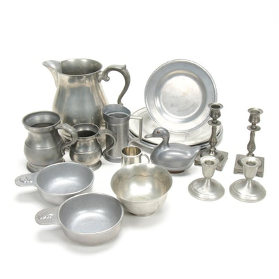 Carson, Towle, and Other Pewter Tableware, Mid to Late 20th Century