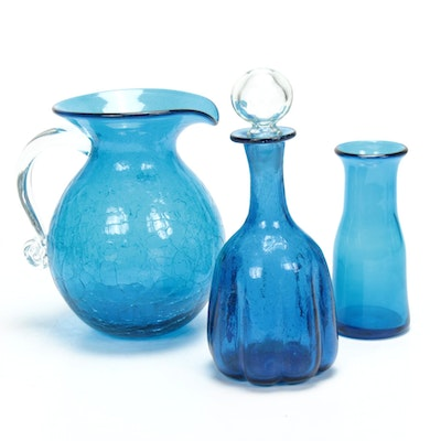 Blenko Crackle Glass Vase, Pitcher and Decanter, Mid to Late 20th Century