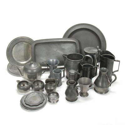 Stieff and Other Pewter Plates, Haystack Measurer and Other Tableware