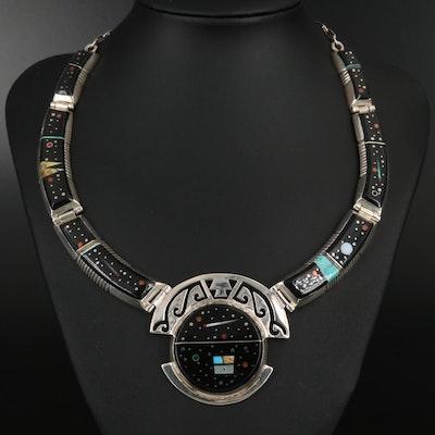 Alvin Yellowhorse Navajo Diné Sterling Gemstone Night Sky Inlay Necklace