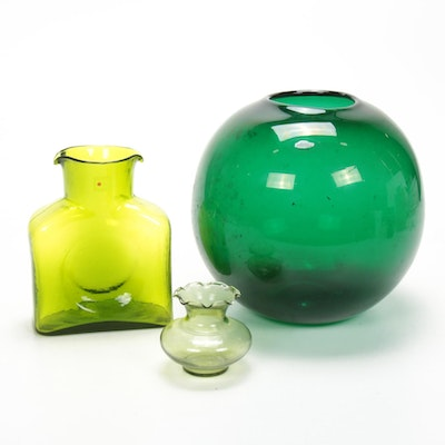 Blenko Hand Blown Green Art Glass Vases