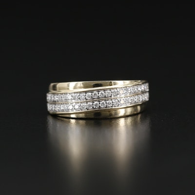 14K Diamond Double Row Band