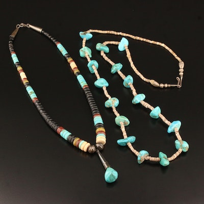 Heishi Necklaces Featuring Sterling Silver, Turquoise, Jasper and Wood