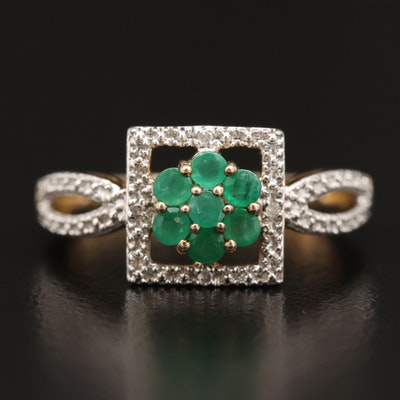 Sterling Silver Emerald and Diamond Ring with Floral Design