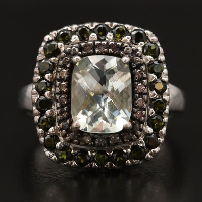 Sterling Silver Prasiolite Ring with Diamond and Tourmaline Halos