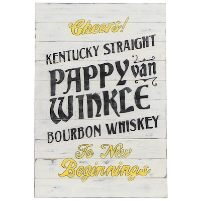 Pappy Van Winkle Kentucky Straight Bourbon Reproduction Advertising Sign, 21st C
