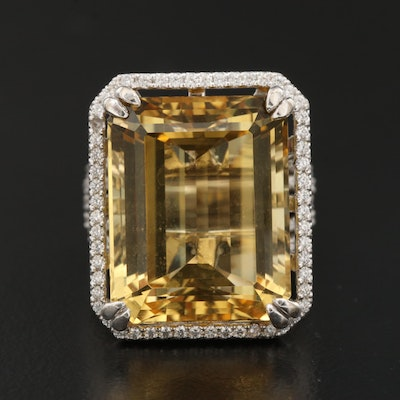 18K 18.20 CT Heliodor and 1.07 CTW Diamond Ring