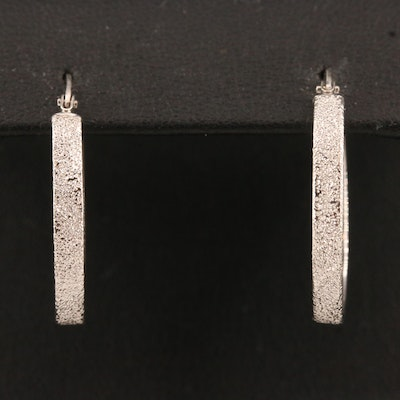 14K Hoop Earrings with Stippled Finish
