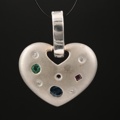 14K Diamond and Gemstone Heart Enhancer Pendant