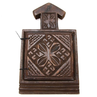 Ethiopian Icon Carved Wood with Paintings, Late 20th Century
