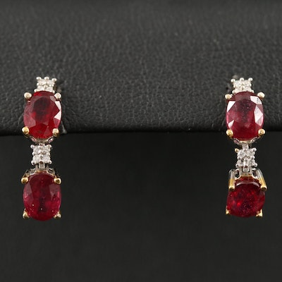 14K Corundum and Diamond Dangle Earrings