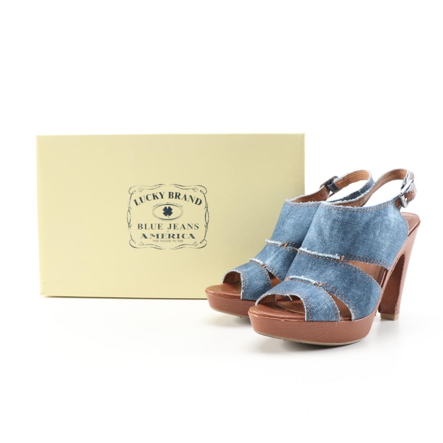 Lucky Brand Peggy Platform Sandals in Indigo Denim