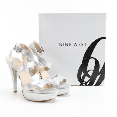Nine West Krysten Strappy High Heel Platform Sandals in Silver Metallic Leather