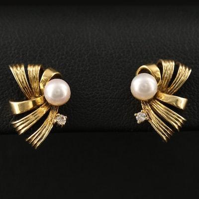14K Pearl and Diamond Bow Earrings