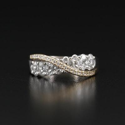 14K Diamond Two-Tone Crossover Ring