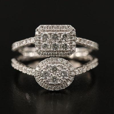 14K Diamond Oval and Rectangular Split Shoulder Ring