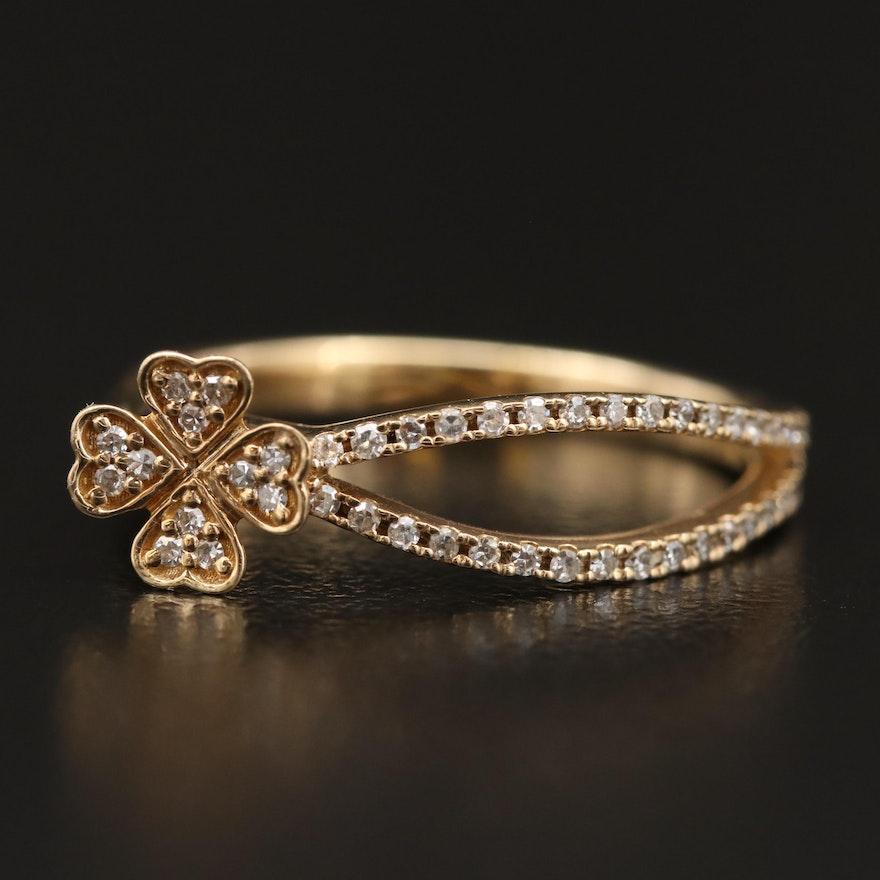14K Diamond Clover Ring