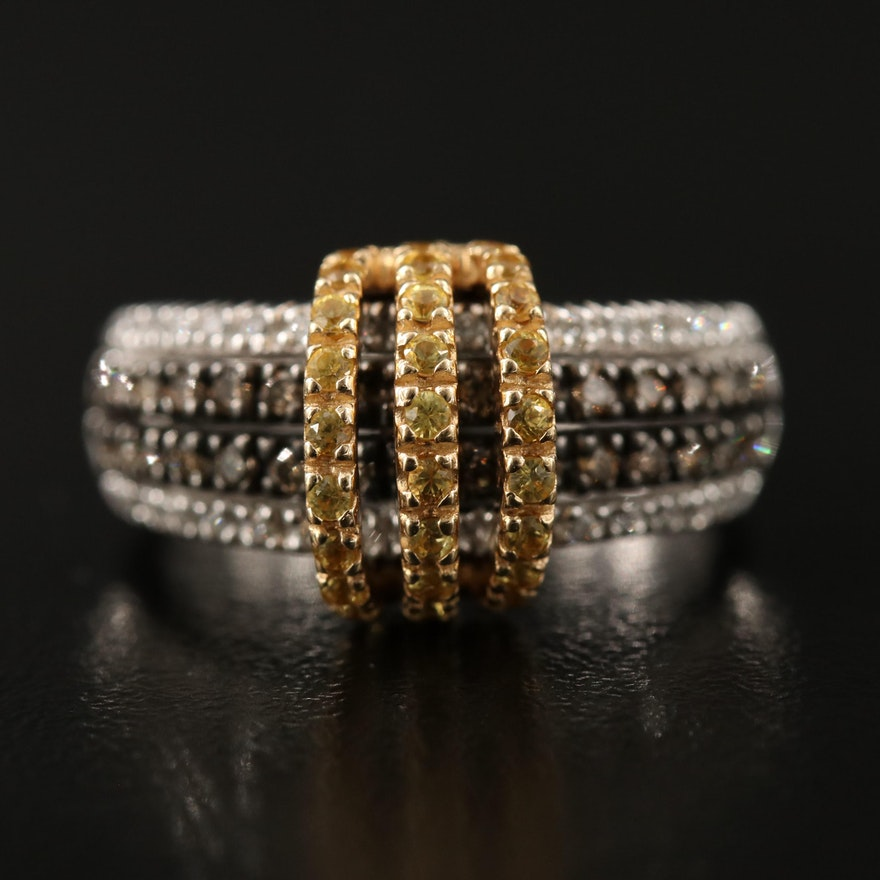 Le Vian 14K Two-Tone Gold Diamond and Yellow Sapphire Crossover Ring