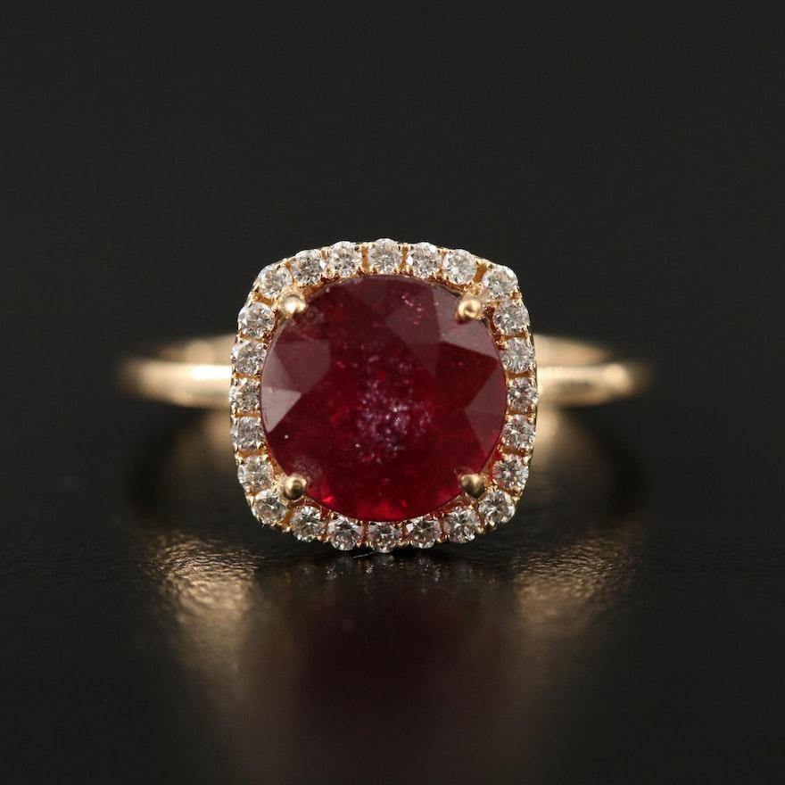 14K Corundum Ring with Diamond Halo