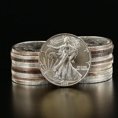 Mint Roll of Twenty 1997 American Silver Eagle Bullion Coins
