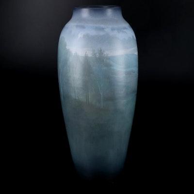 Carl Schmidt Rookwood Pottery Monumental Vellum Glaze Vase, 1914